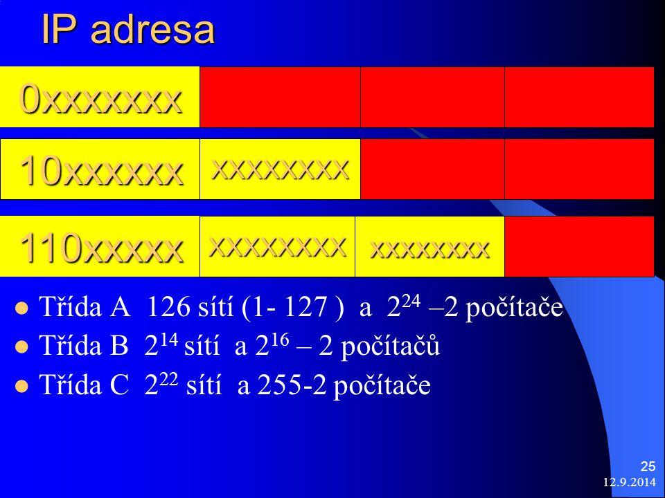 12.9.2014 25 IP adresa 0xxxxxxx xxxxxxxx XXXXXXXX10xxxxxx 110xxxxx XXXXXXXX Třída A 126 sítí (1- 127 ) a 2 24 –2 počítače Třída B 2 14 sítí a 2 16 – 2 počítačů Třída C 2 22 sítí a 255-2 počítače