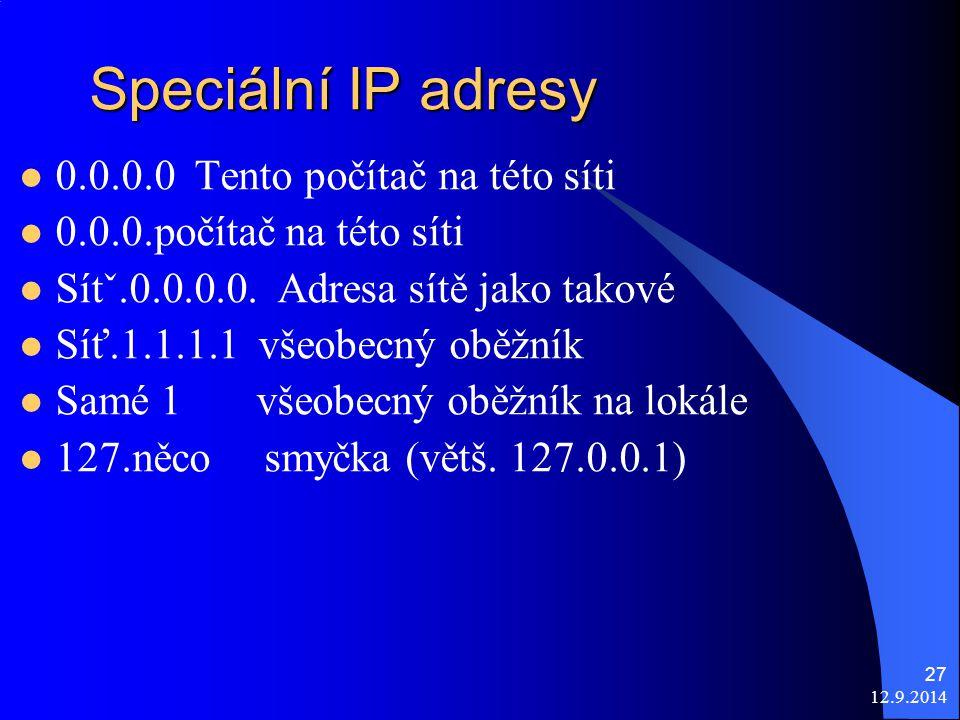 12.9.2014 27 Speciální IP adresy 0.0.0.0 Tento počítač na této síti 0.0.0.počítač na této síti Sítˇ.0.0.0.0.