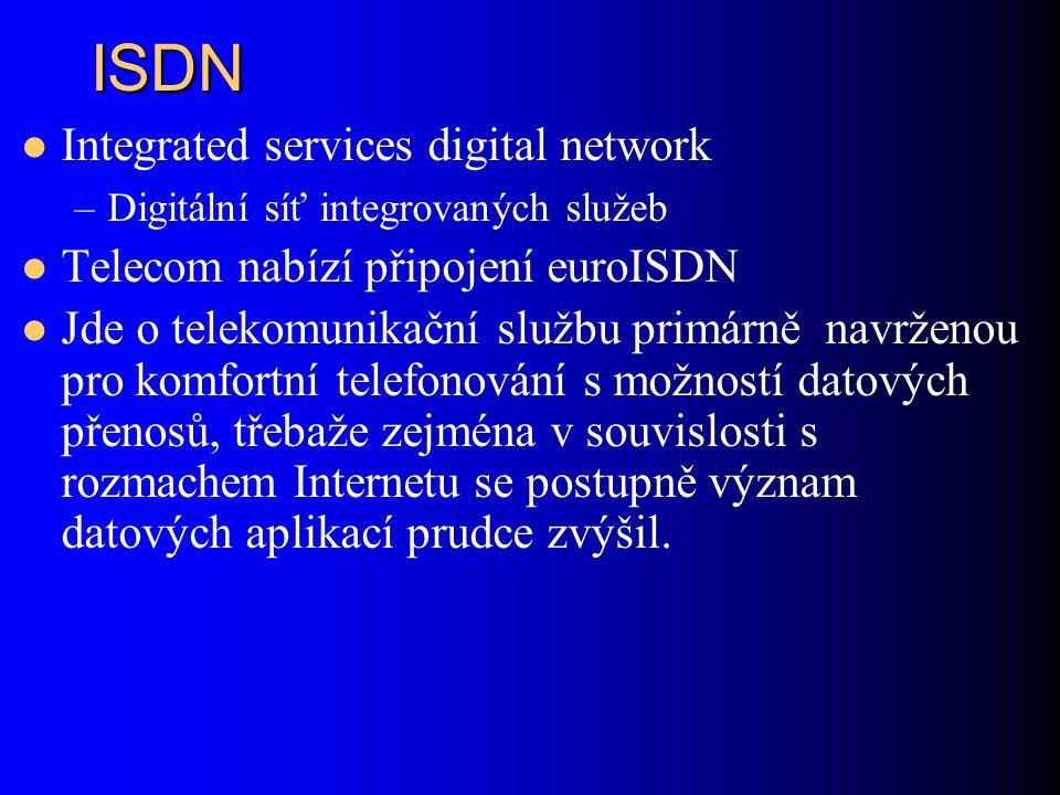 ISDN Integrated services digital network –Digitální síť integrovaných služeb Telecom nabízí připojení euroISDN Jde o telekomunikační službu primárně navrženou pro komfortní telefonování s možností datových přenosů, třebaže zejména v souvislosti s rozmachem Internetu se postupně význam datových aplikací prudce zvýšil.