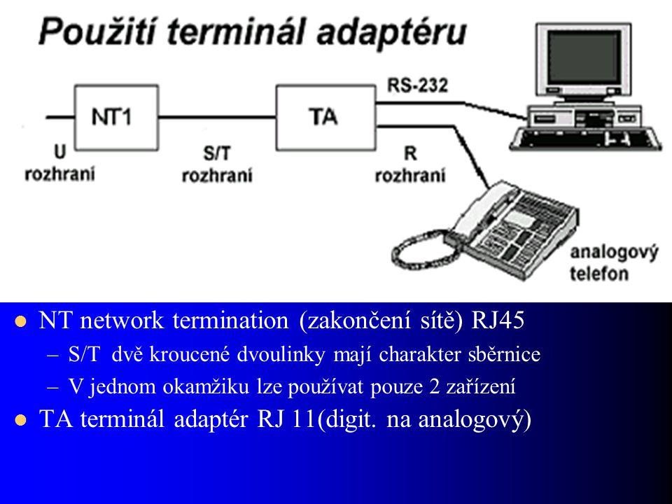NT network termination (zakončení sítě) RJ45 –S/T dvě kroucené dvoulinky mají charakter sběrnice –V jednom okamžiku lze používat pouze 2 zařízení TA terminál adaptér RJ 11(digit.