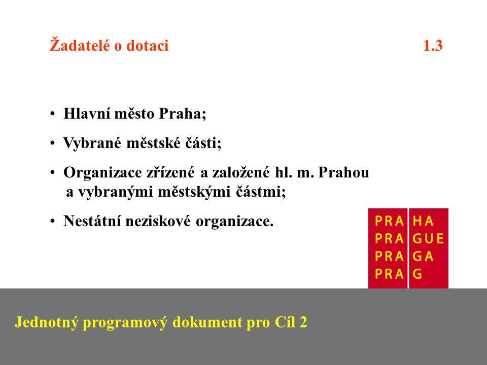 Žadatelé o dotaci 1.3 Hlavní město Praha; Vybrané městské části; Organizace zřízené a založené hl.