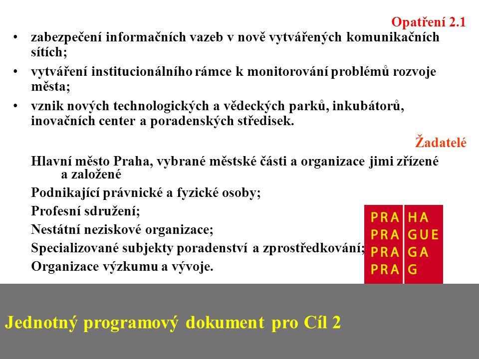 Jednotný programový dokument pro Cíl 2 Opatření 2.1 zabezpečení informačních vazeb v nově vytvářených komunikačních sítích; vytváření institucionálního rámce k monitorování problémů rozvoje města; vznik nových technologických a vědeckých parků, inkubátorů, inovačních center a poradenských středisek.