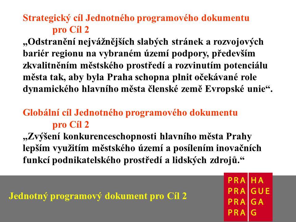 """Strategický cíl Jednotného programového dokumentu pro Cíl 2 """"Odstranění nejvážnějších slabých stránek a rozvojových bariér regionu na vybraném území podpory, především zkvalitněním městského prostředí a rozvinutím potenciálu města tak, aby byla Praha schopna plnit očekávané role dynamického hlavního města členské země Evropské unie ."""
