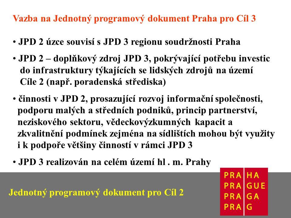 Vazba na Jednotný programový dokument Praha pro Cíl 3 JPD 2 úzce souvisí s JPD 3 regionu soudržnosti Praha JPD 2 – doplňkový zdroj JPD 3, pokrývající potřebu investic do infrastruktury týkajících se lidských zdrojů na území Cíle 2 (např.