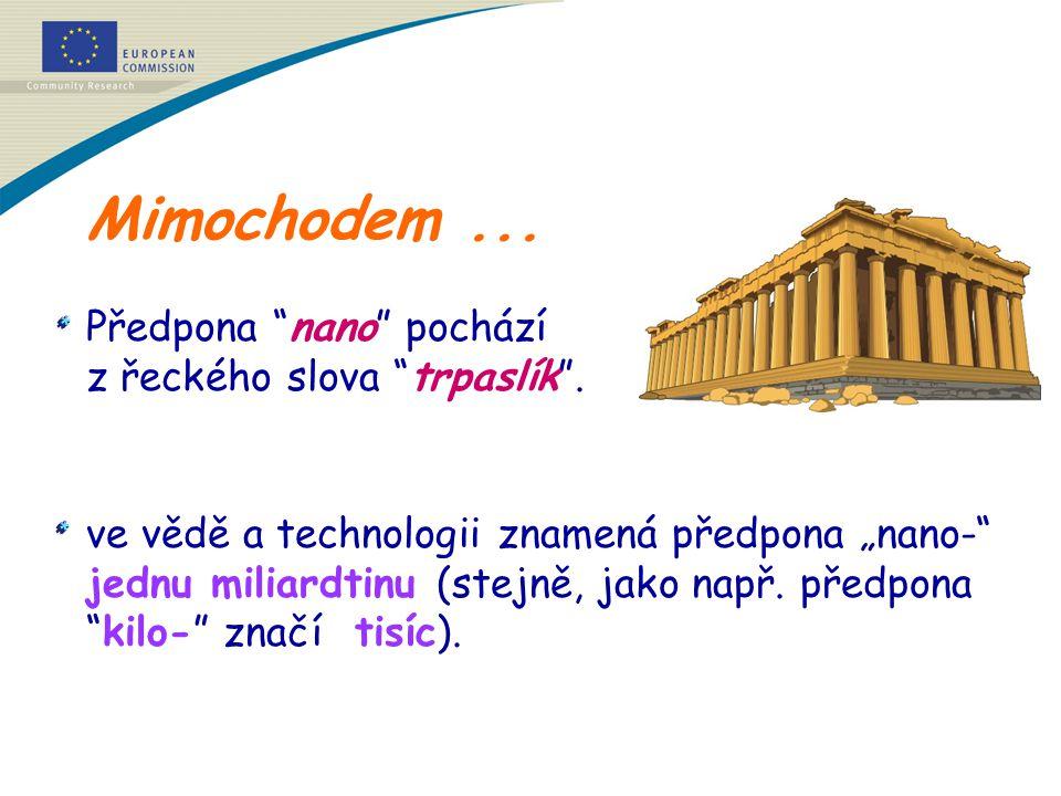 """Mimochodem... Předpona """"nano"""" pochází z řeckého slova """"trpaslík"""". ve vědě a technologii znamená předpona """"nano-"""" jednu miliardtinu (stejně, jako např."""