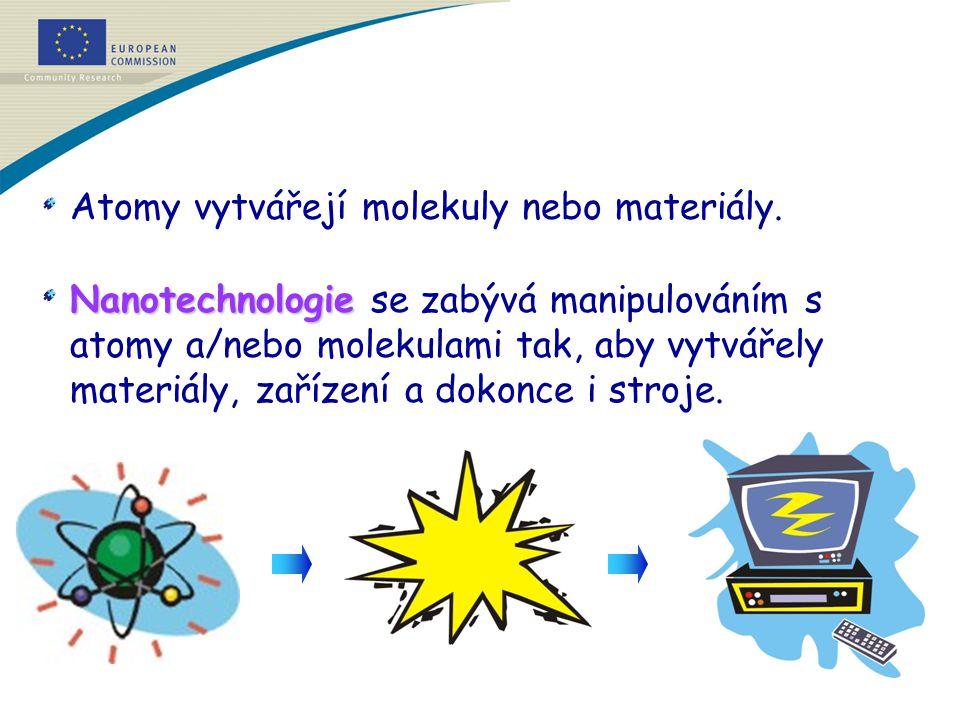 Atomy vytvářejí molekuly nebo materiály. Nanotechnologie Nanotechnologie se zabývá manipulováním s atomy a/nebo molekulami tak, aby vytvářely materiál