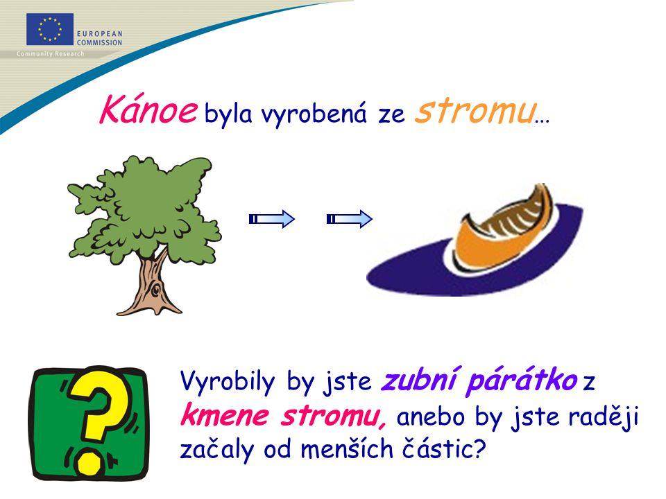 Kánoe byla vyrobená ze stromu … Vyrobily by jste zubní párátko z kmene stromu, anebo by jste raději začaly od menších částic?
