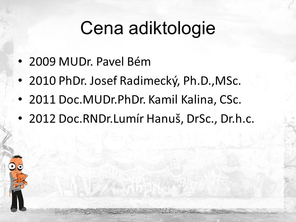 """Cena """"Kiron udělována od roku 2011 cena za nejlepší adiktologický počin roku pro jednotlivce nebo organizaci 2011 Sananim, projekt Poradna pro rozumné rodiče 2012 P-centrum, projekt """"Dokážu to"""