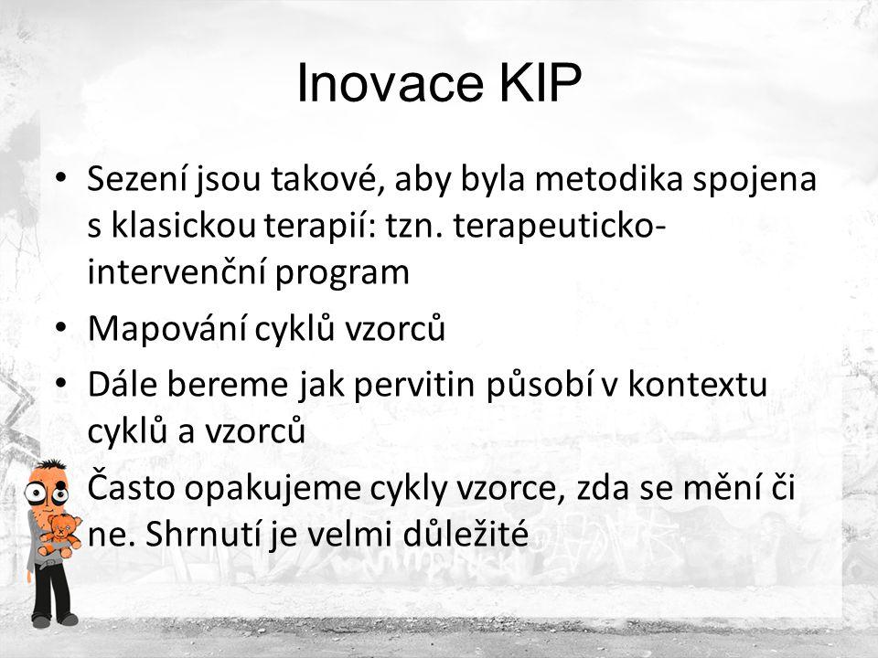 Inovace KIP Dále pracujeme dle potřeby s následujícími moduly: Bažení Nebezpečné situace Zdravotní důsledky Trestná činnost Zavírání dveří Doléčování a podpora