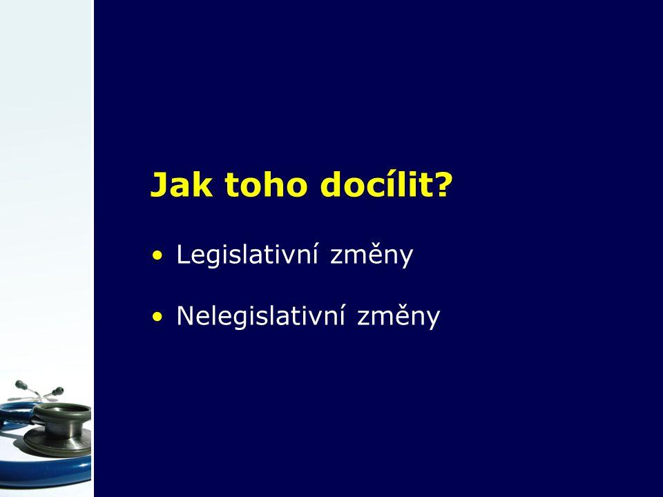Jak toho docílit? Legislativní změny Nelegislativní změny