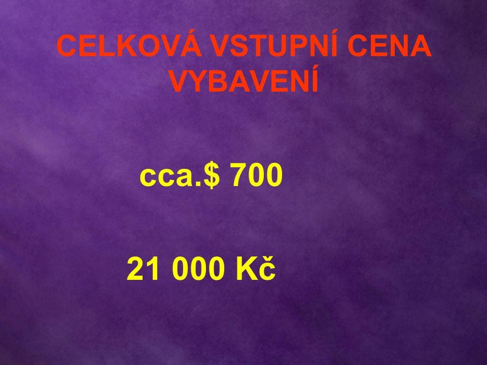 CELKOVÁ VSTUPNÍ CENA VYBAVENÍ cca.$ 700 21 000 Kč
