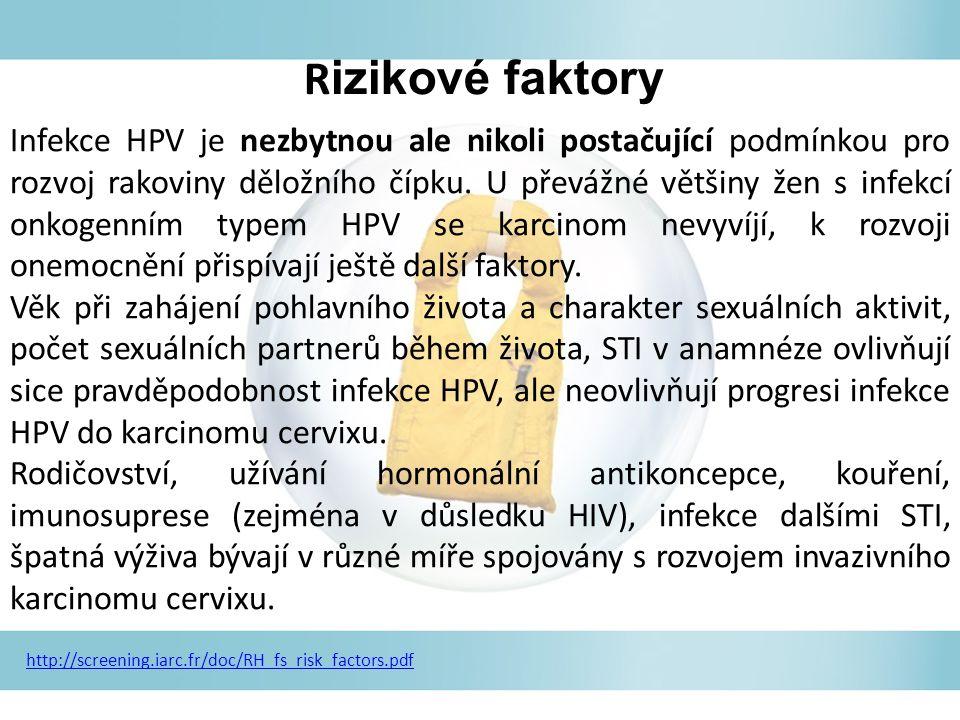 Infekce HPV je nezbytnou ale nikoli postačující podmínkou pro rozvoj rakoviny děložního čípku.