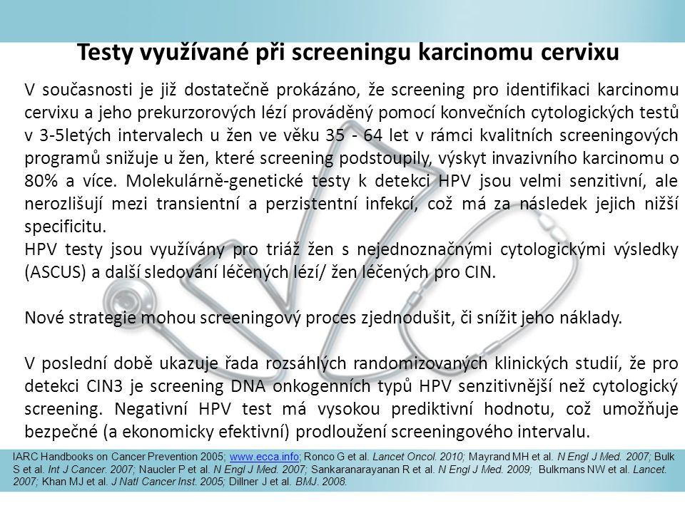 V současnosti je již dostatečně prokázáno, že screening pro identifikaci karcinomu cervixu a jeho prekurzorových lézí prováděný pomocí konvečních cytologických testů v 3-5letých intervalech u žen ve věku 35 - 64 let v rámci kvalitních screeningových programů snižuje u žen, které screening podstoupily, výskyt invazivního karcinomu o 80% a více.