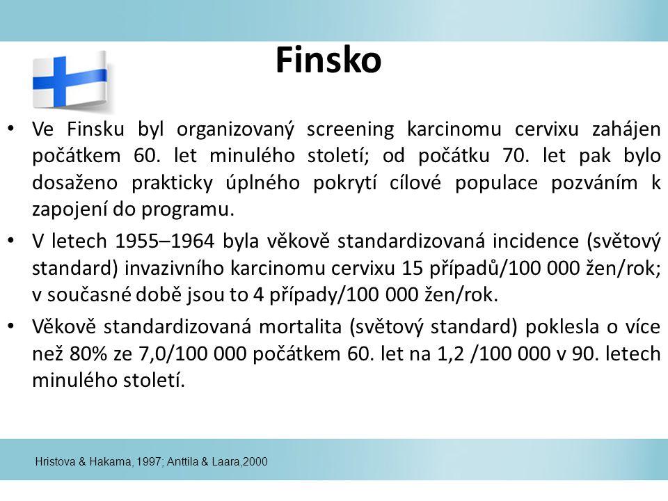 Finsko Ve Finsku byl organizovaný screening karcinomu cervixu zahájen počátkem 60.