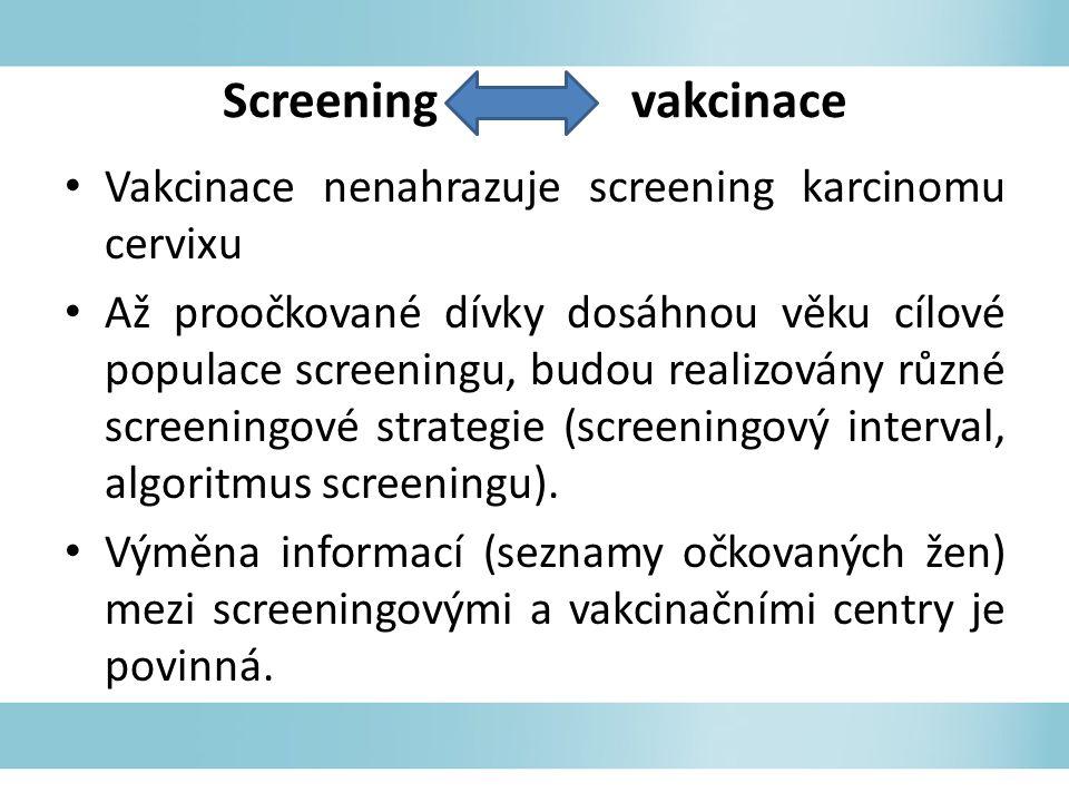 Vakcinace nenahrazuje screening karcinomu cervixu Až proočkované dívky dosáhnou věku cílové populace screeningu, budou realizovány různé screeningové strategie (screeningový interval, algoritmus screeningu).