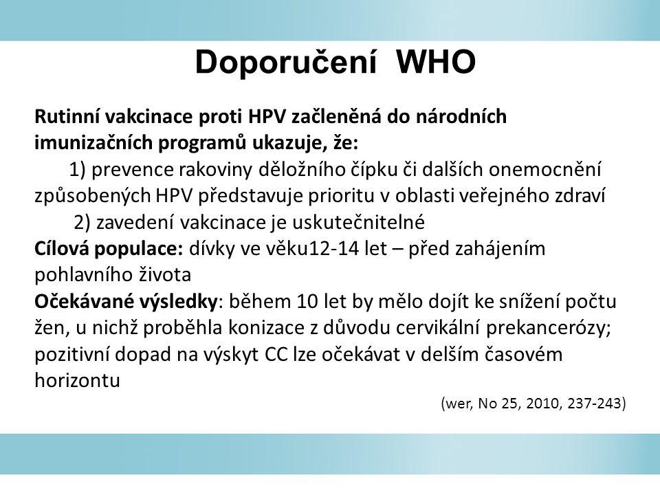 Doporučení WHO Rutinní vakcinace proti HPV začleněná do národních imunizačních programů ukazuje, že: 1) prevence rakoviny děložního čípku či dalších onemocnění způsobených HPV představuje prioritu v oblasti veřejného zdraví 2) zavedení vakcinace je uskutečnitelné Cílová populace: dívky ve věku12-14 let – před zahájením pohlavního života Očekávané výsledky: během 10 let by mělo dojít ke snížení počtu žen, u nichž proběhla konizace z důvodu cervikální prekancerózy; pozitivní dopad na výskyt CC lze očekávat v delším časovém horizontu (wer, No 25, 2010, 237-243)