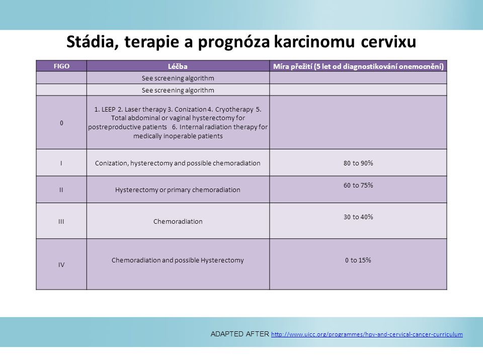 Stádia, terapie a prognóza karcinomu cervixu ADAPTED AFTER http://www.uicc.org/programmes/hpv-and-cervical-cancer-curriculum http://www.uicc.org/progr