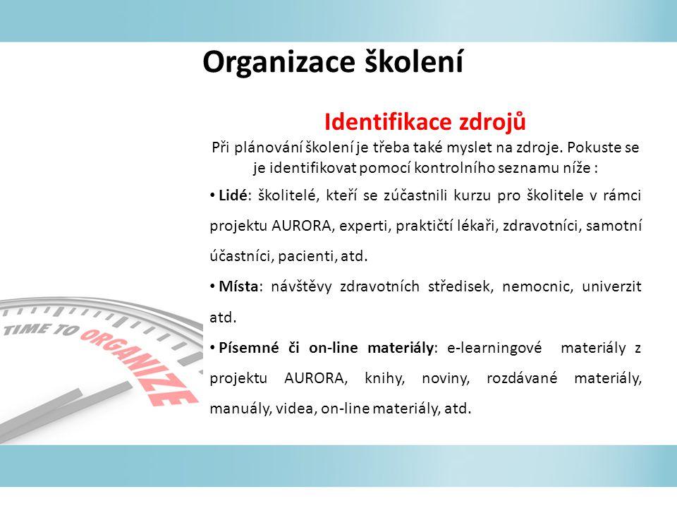 Organizace školení Identifikace zdrojů Při plánování školení je třeba také myslet na zdroje. Pokuste se je identifikovat pomocí kontrolního seznamu ní