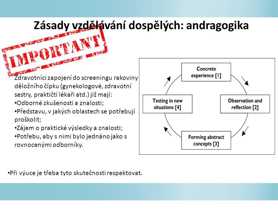 Zásady vzdělávání dospělých: andragogika Zdravotníci zapojení do screeningu rakoviny děložního čípku (gynekologové, zdravotní sestry, praktičtí lékaři