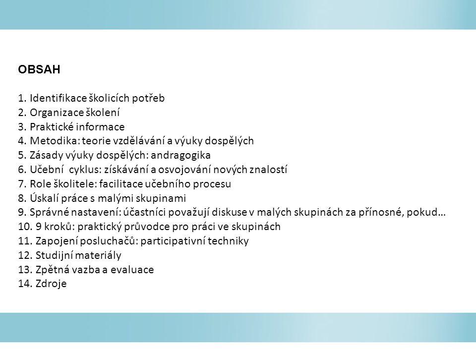 OBSAH 1. Identifikace školicích potřeb 2. Organizace školení 3. Praktické informace 4. Metodika: teorie vzdělávání a výuky dospělých 5. Zásady výuky d