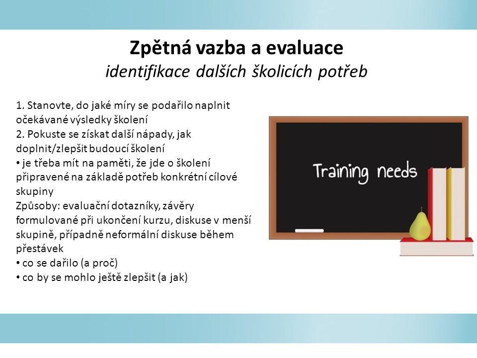 Zpětná vazba a evaluace identifikace dalších školicích potřeb 1. Stanovte, do jaké míry se podařilo naplnit očekávané výsledky školení 2. Pokuste se z