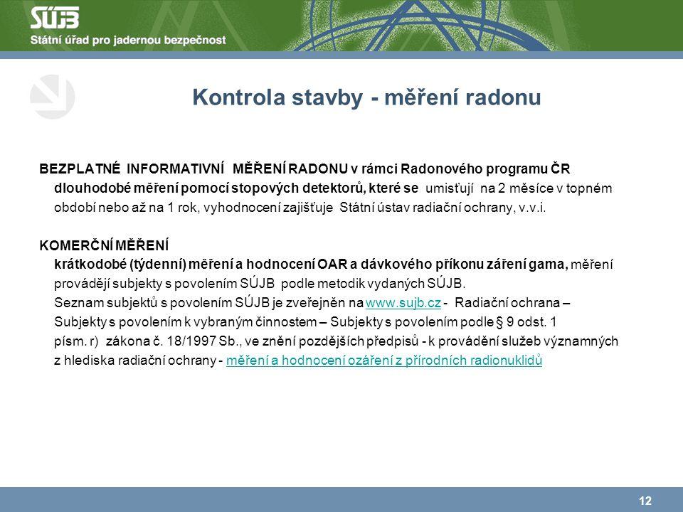 Kontrola stavby - měření radonu BEZPLATNÉ INFORMATIVNÍ MĚŘENÍ RADONU v rámci Radonového programu ČR dlouhodobé měření pomocí stopových detektorů, které se umisťují na 2 měsíce v topném období nebo až na 1 rok, vyhodnocení zajišťuje Státní ústav radiační ochrany, v.v.i.