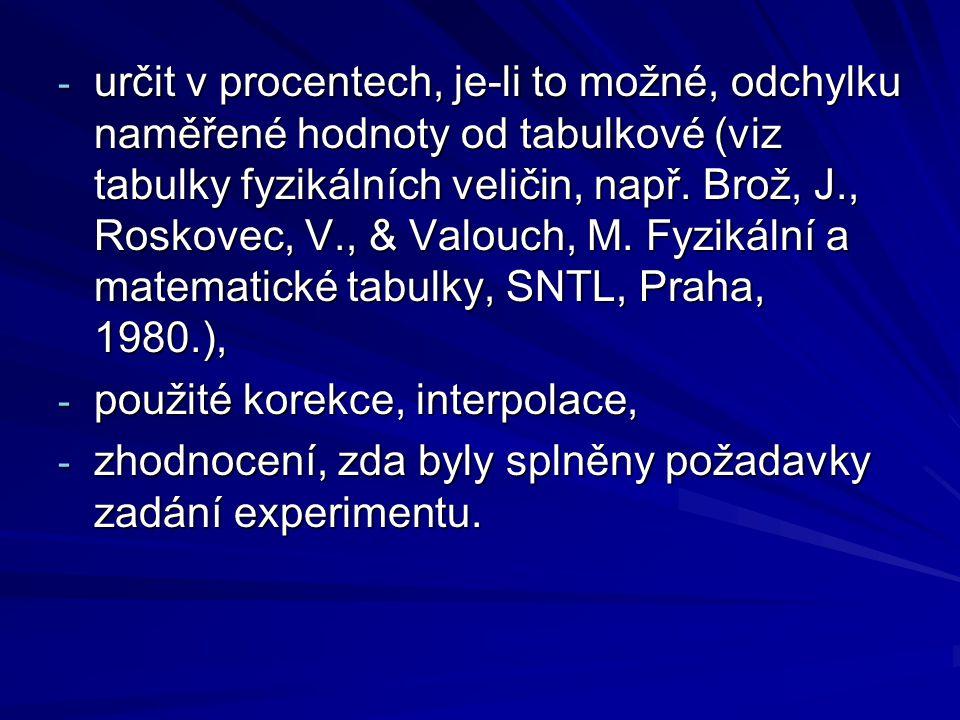 - určit v procentech, je-li to možné, odchylku naměřené hodnoty od tabulkové (viz tabulky fyzikálních veličin, např. Brož, J., Roskovec, V., & Valouch