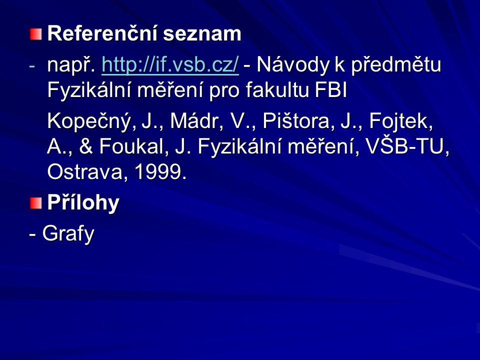 Referenční seznam - např. http://if.vsb.cz/ - Návody k předmětu Fyzikální měření pro fakultu FBI http://if.vsb.cz/ Kopečný, J., Mádr, V., Pištora, J.,