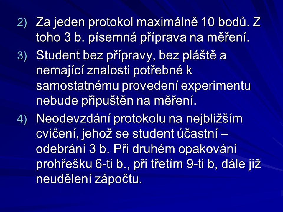 2) Za jeden protokol maximálně 10 bodů. Z toho 3 b. písemná příprava na měření. 3) Student bez přípravy, bez pláště a nemající znalosti potřebné k sam