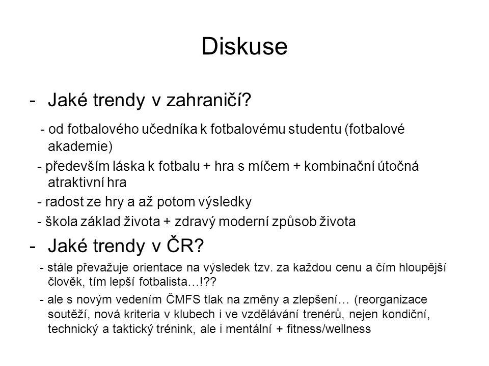 Diskuse -Jaké trendy v zahraničí? - od fotbalového učedníka k fotbalovému studentu (fotbalové akademie) - především láska k fotbalu + hra s míčem + ko