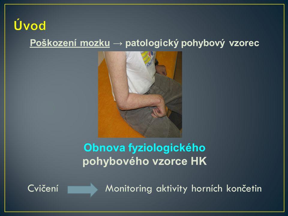 Poškození mozku → patologický pohybový vzorec Obnova fyziologického pohybového vzorce HK Cvičení Monitoring aktivity horních končetin