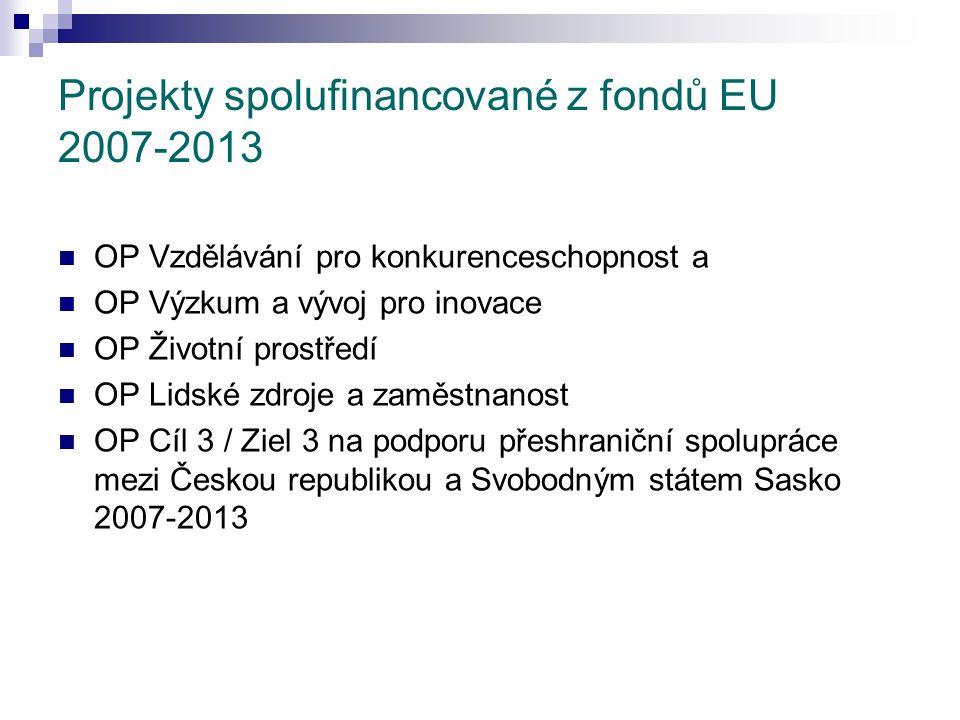 Projekty spolufinancované z fondů EU 2007-2013 OP Vzdělávání pro konkurenceschopnost a OP Výzkum a vývoj pro inovace OP Životní prostředí OP Lidské zdroje a zaměstnanost OP Cíl 3 / Ziel 3 na podporu přeshraniční spolupráce mezi Českou republikou a Svobodným státem Sasko 2007-2013