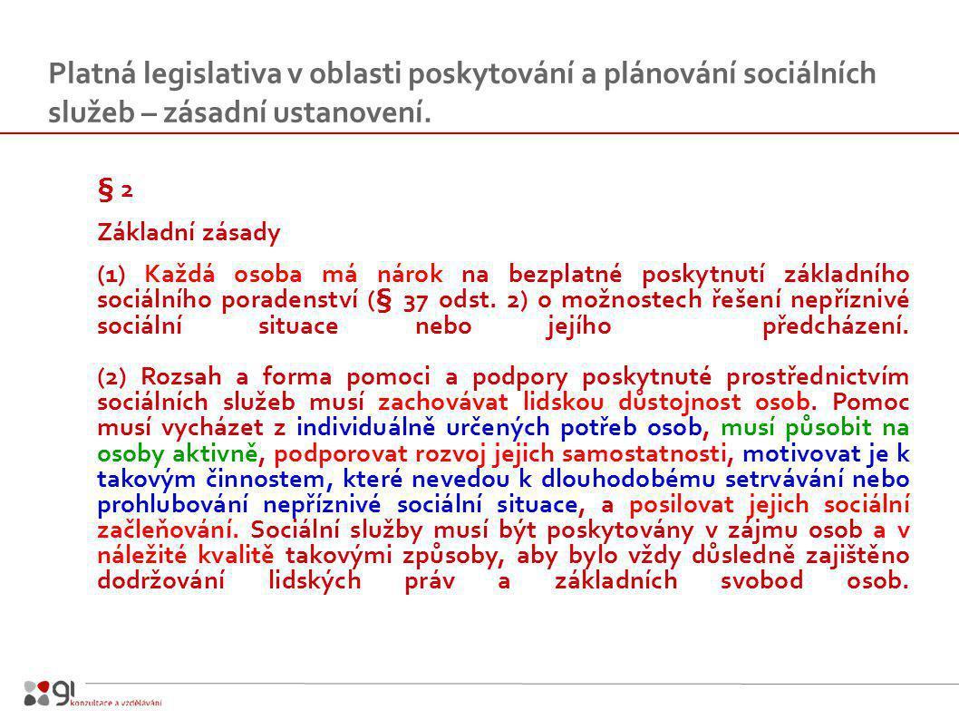 Platná legislativa v oblasti poskytování a plánování sociálních služeb – zásadní ustanovení.