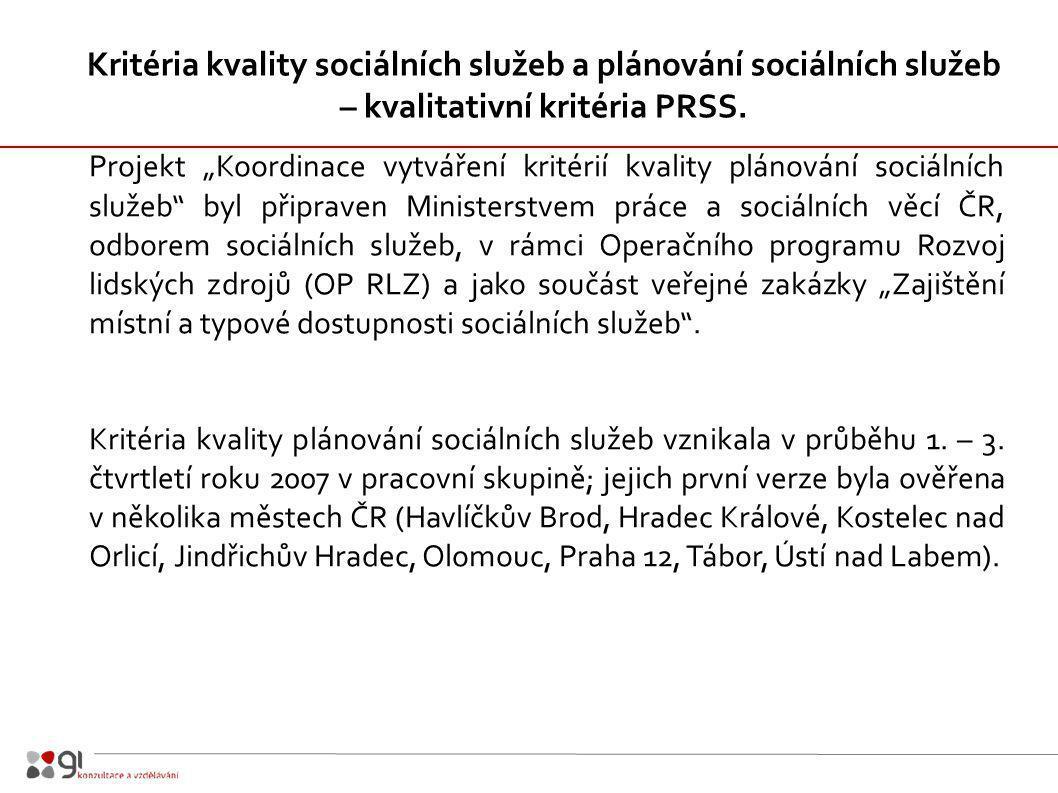 """Projekt """"Koordinace vytváření kritérií kvality plánování sociálních služeb byl připraven Ministerstvem práce a sociálních věcí ČR, odborem sociálních služeb, v rámci Operačního programu Rozvoj lidských zdrojů (OP RLZ) a jako součást veřejné zakázky """"Zajištění místní a typové dostupnosti sociálních služeb ."""