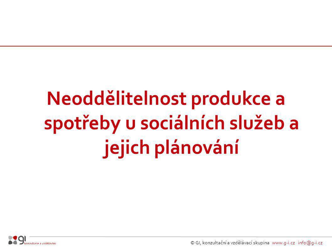 Neoddělitelnost produkce a spotřeby u sociálních služeb a jejich plánování © GI, konzultační a vzdělávací skupina www.g-i.cz info@g-i.cz