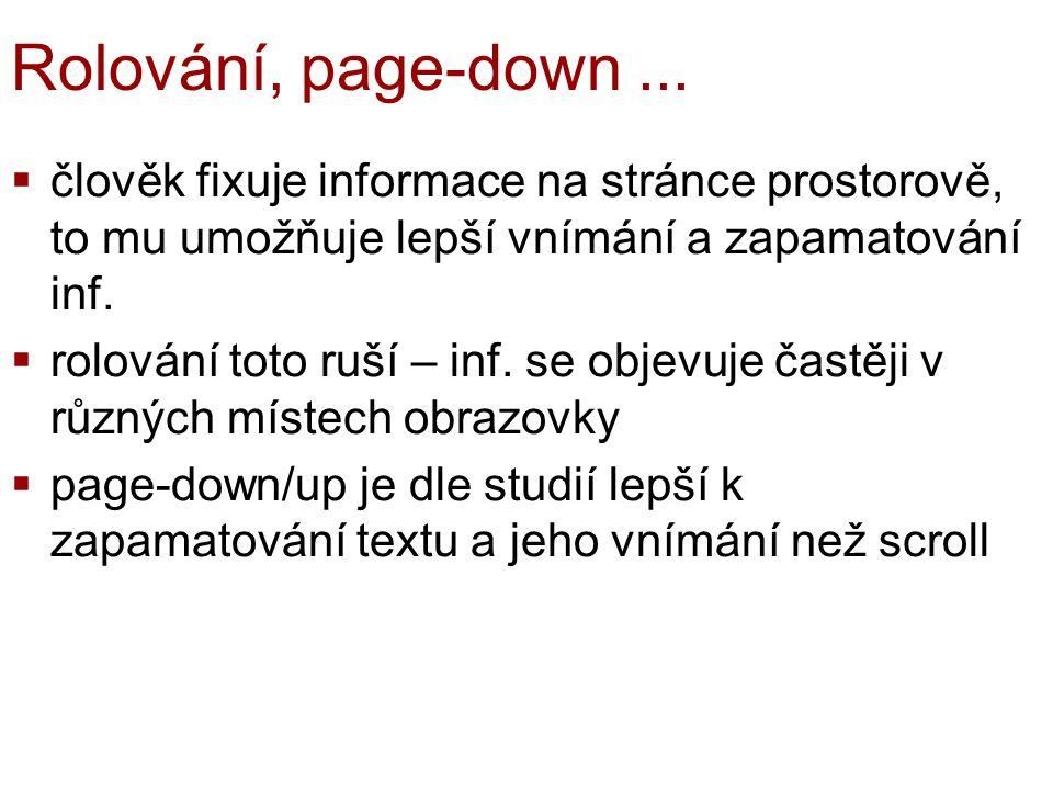 Rolování, page-down...