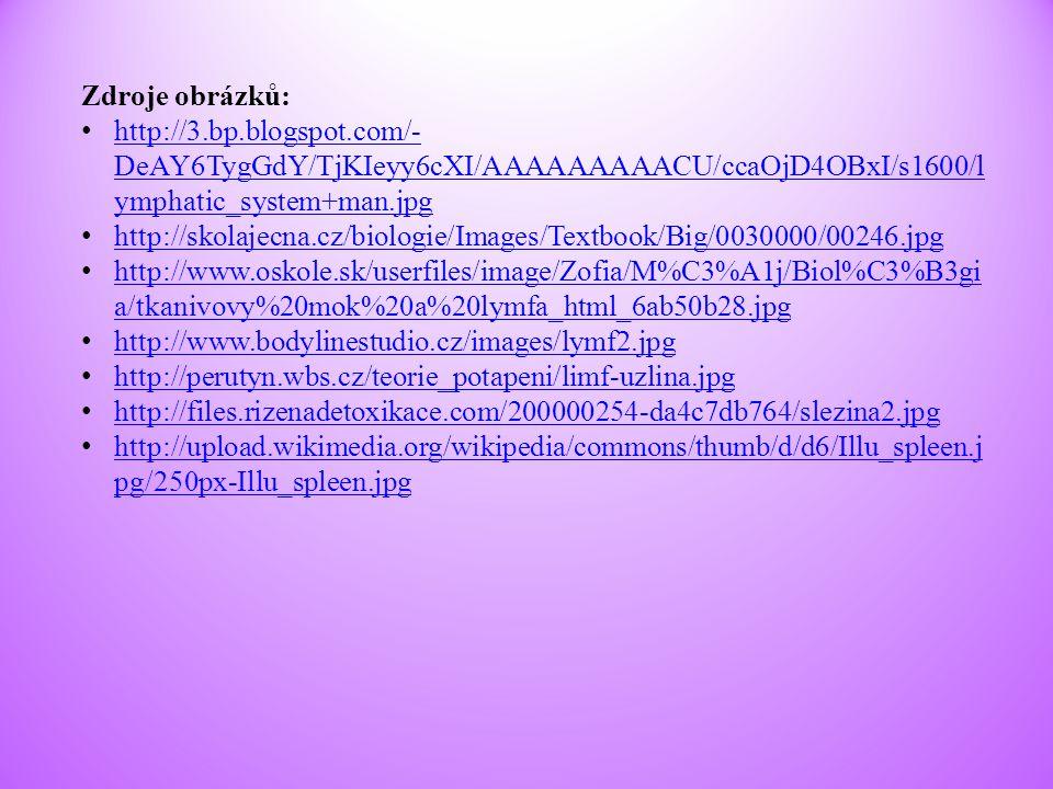 Zdroje obrázků: http://3.bp.blogspot.com/- DeAY6TygGdY/TjKIeyy6cXI/AAAAAAAAACU/ccaOjD4OBxI/s1600/l ymphatic_system+man.jpg http://3.bp.blogspot.com/-