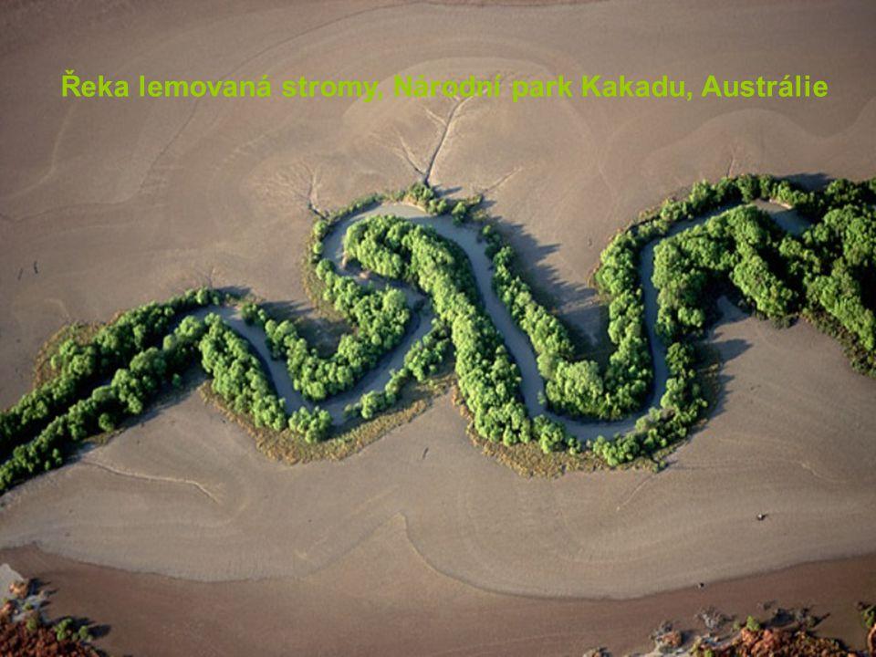 Řeka lemovaná stromy, Národní park Kakadu, Austrálie