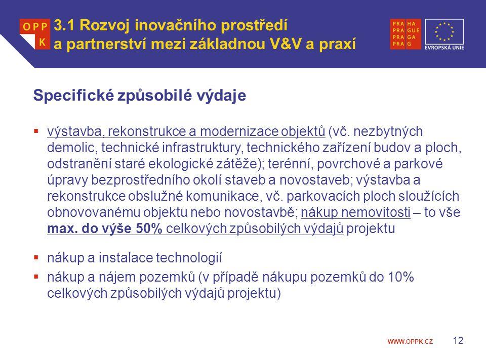 WWW.OPPK.CZ 12 Specifické způsobilé výdaje  výstavba, rekonstrukce a modernizace objektů (vč.