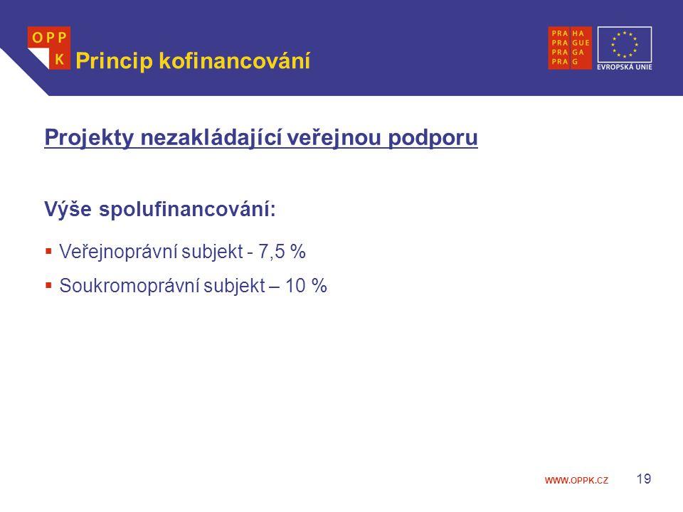 WWW.OPPK.CZ 19 Princip kofinancování Projekty nezakládající veřejnou podporu Výše spolufinancování:  Veřejnoprávní subjekt - 7,5 %  Soukromoprávní subjekt – 10 %