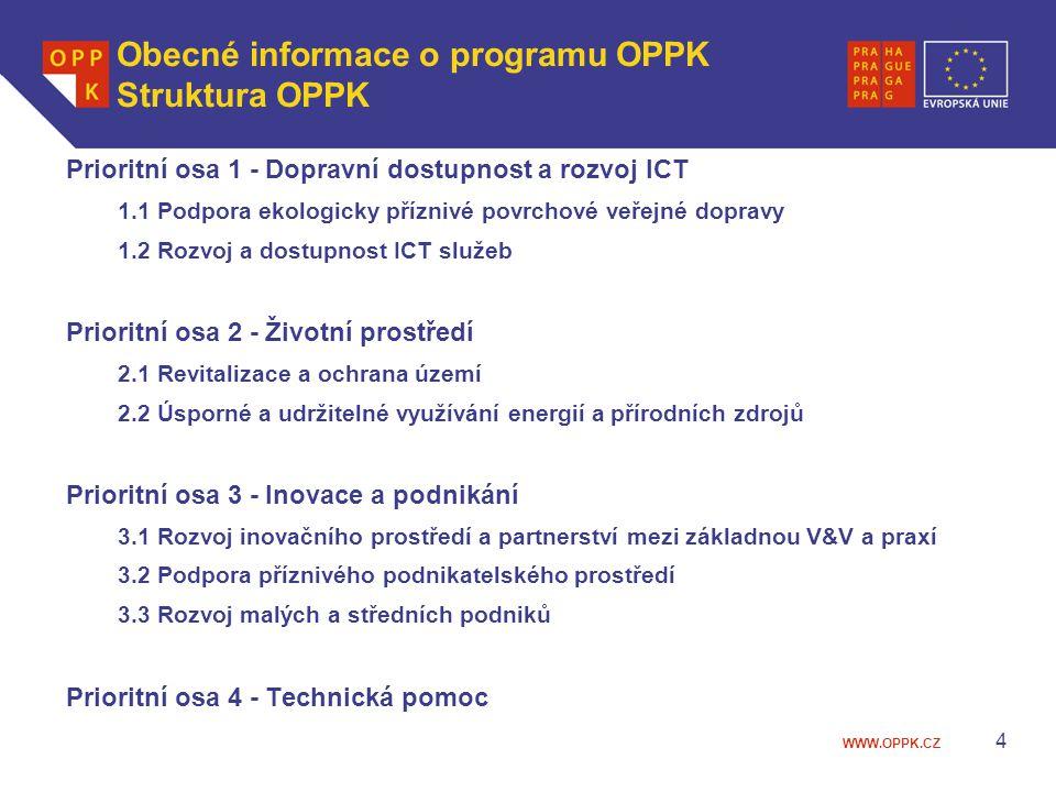 WWW.OPPK.CZ 4 Obecné informace o programu OPPK Struktura OPPK Prioritní osa 1 - Dopravní dostupnost a rozvoj ICT 1.1 Podpora ekologicky příznivé povrchové veřejné dopravy 1.2 Rozvoj a dostupnost ICT služeb Prioritní osa 2 - Životní prostředí 2.1 Revitalizace a ochrana území 2.2 Úsporné a udržitelné využívání energií a přírodních zdrojů Prioritní osa 3 - Inovace a podnikání 3.1 Rozvoj inovačního prostředí a partnerství mezi základnou V&V a praxí 3.2 Podpora příznivého podnikatelského prostředí 3.3 Rozvoj malých a středních podniků Prioritní osa 4 - Technická pomoc