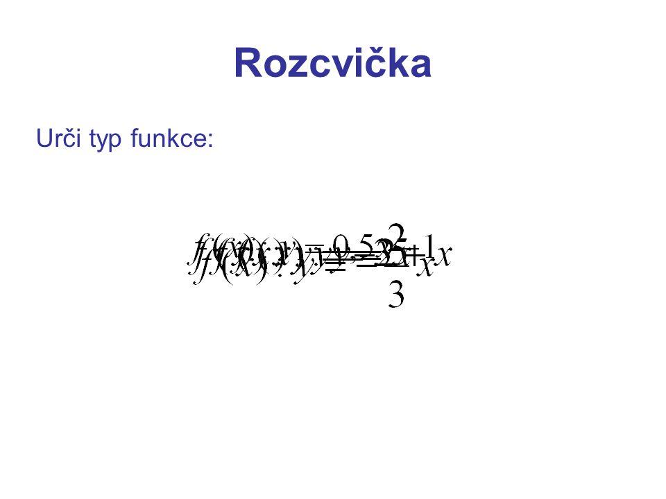 Rozcvička Urči typ funkce: