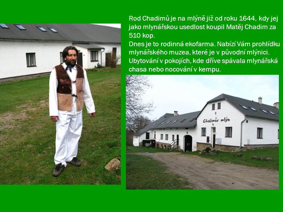 Rod Chadimů je na mlýně již od roku 1644, kdy jej jako mlynářskou usedlost koupil Matěj Chadim za 510 kop.