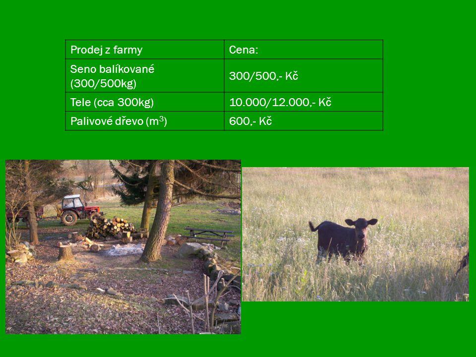 Prodej z farmyCena: Seno balíkované (300/500kg) 300/500,- Kč Tele (cca 300kg)10.000/12.000,- Kč Palivové dřevo (m 3 )600,- Kč