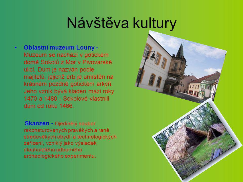 Návštěva kultury Oblastní muzeum Louny - Muzeum se nachází v gotickém domě Sokolů z Mor v Pivovarské ulici. Dům je nazván podle majitelů, jejichž erb