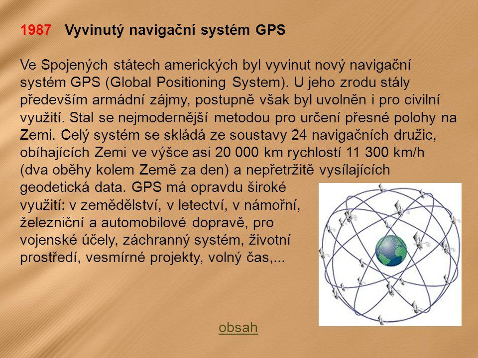 1987 Vyvinutý navigační systém GPS Ve Spojených státech amerických byl vyvinut nový navigační systém GPS (Global Positioning System).