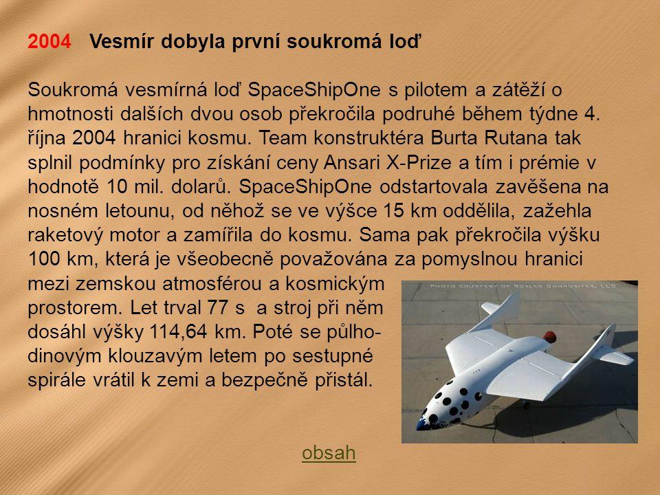 2004 Vesmír dobyla první soukromá loď Soukromá vesmírná loď SpaceShipOne s pilotem a zátěží o hmotnosti dalších dvou osob překročila podruhé během týdne 4.