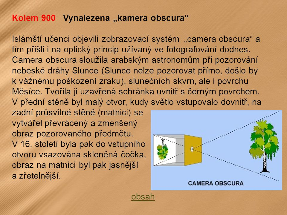 """Kolem 900 Vynalezena """"kamera obscura Islámští učenci objevili zobrazovací systém """"camera obscura a tím přišli i na optický princip užívaný ve fotografování dodnes."""