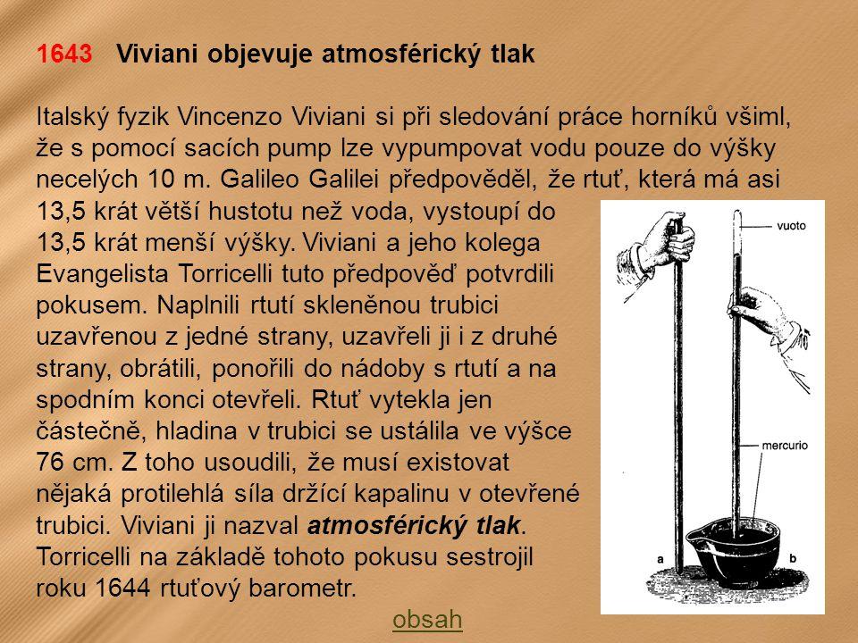 1643 Viviani objevuje atmosférický tlak Italský fyzik Vincenzo Viviani si při sledování práce horníků všiml, že s pomocí sacích pump lze vypumpovat vodu pouze do výšky necelých 10 m.
