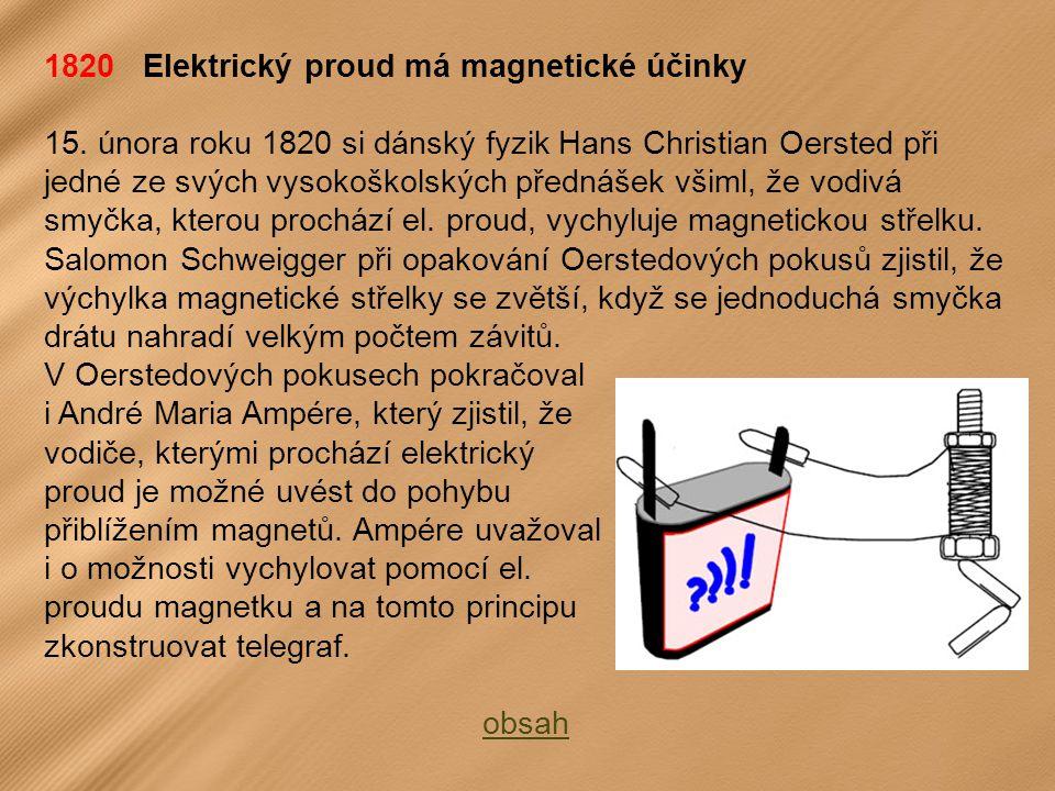 1820 Elektrický proud má magnetické účinky 15.